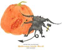 Le petit diable découpe le potiron pour Halloween illustration libre de droits