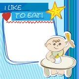 Le petit enfant de carte postale mange à la table Image libre de droits