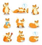 Le petit ensemble mignon de renard, personnage de dessin animé drôle de chiot dans différentes situations dirigent des illustrati illustration de vecteur