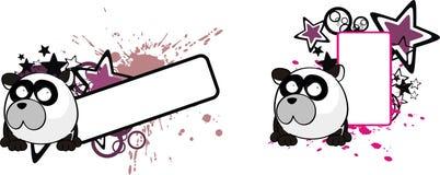 Le petit espace drôle de copie de bande dessinée de style de boule d'ours panda illustration libre de droits