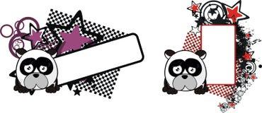 Le petit espace triste de copie de bande dessinée de style de boule d'ours panda illustration libre de droits