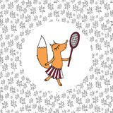 Le petit fille-renard joue au badminton sur le champ Photos stock