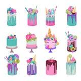 Le petit gâteau de gâteau au fromage de vecteur de gâteau d'anniversaire pour le bonbon heureux à partie de naissance a durci le  illustration stock