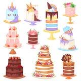 Le petit gâteau de gâteau au fromage de vecteur de gâteau d'anniversaire pour la partie heureuse de naissance a fait le gâteau et illustration libre de droits