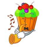 Le petit gâteau de cassis de trompette étant isolé sur la mascotte illustration stock