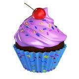 Le petit gâteau de chocolat avec la cerise rose de givrage et arrose Image libre de droits