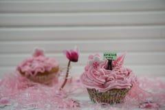 Le petit gâteau rose décoré d'une figurine miniature de personne tenant un signe avec le printemps de mots et cyclamen fleurissen Images libres de droits