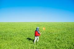 Le petit garçon avec un filet de papillon court à disposition à travers le champ vert photos libres de droits