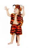 Le petit garçon dans un procès d'un tigre Photographie stock libre de droits