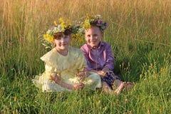 Le petit garçon et la fille heureux en guirlandes s'asseyent dans l'herbe sèche a photo stock
