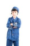 Le petit garçon feignent en tant que pilote photo libre de droits