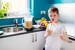 Le petit garçon heureux boit la macédoine de fruits selfmade Photographie stock libre de droits