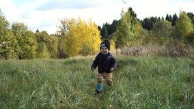 Le petit garçon marche en parc Image stock