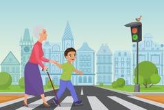 Le petit garçon poli aide dame âgée de sourire à passer la route à un passage pour piétons tandis que le feu vert brille illustration libre de droits