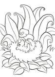 Le petit hérisson aimable mignon étend et tient le champignon dans la patte Image libre de droits
