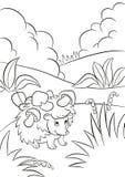 Le petit hérisson aimable mignon a les champignons sur les aiguilles Image stock