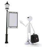 Le petit homme 3D avec un portfolio. Photo libre de droits