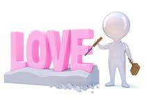 le petit homme 3d découpe l'amour Images libres de droits