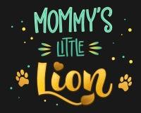 Le petit lion de la maman - le manuscrit de calligraphie d'aspiration de main de couleur de famille de lions marquant avec des le illustration de vecteur