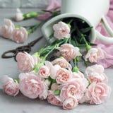 Le petit oeillet rose tendre fleurit dans le vase à émail sur le béton gris, le mother& x27 ; fond de carte de voeux de jour de s Photographie stock libre de droits