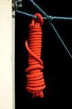 Le petit pain de corde rouge pour gardent le paquet avec la corde bleue, fond d'isolement Images stock