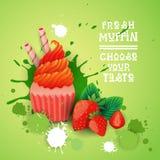 Le petit pain frais choisissent votre nourriture délicieuse de dessert de Logo Cake Sweet Beautiful Cupcake de goût Photos stock