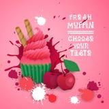 Le petit pain frais choisissent votre nourriture délicieuse de dessert de Logo Cake Sweet Beautiful Cupcake de goût Images libres de droits