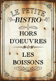 Le petite bistro. Hors  rust tin sign antique wall sign kitchen art Royalty Free Stock Photos