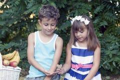 Le petits garçon et fille mignons s'asseyent dans l'herbe et jouent Photo stock