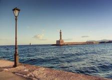 Le phare célèbre de Hania Image libre de droits