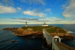 Le phare d'île de Pancha, Galicie, Espagne Photos stock
