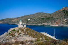 Le phare dans Kapsali, Kythera, Grèce photos stock