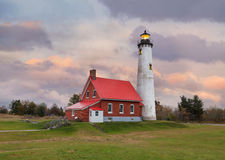 Le phare de point de Tawas sur le lac Huron images libres de droits