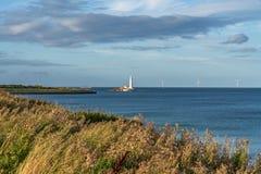 Le phare de St Mary, Angleterre, R-U photos stock
