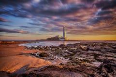 Le phare de St Mary - Whitley Bay Image stock