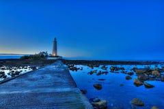 Le phare et la chaussée de St Mary Photos stock