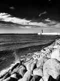 Le phare Regard artistique en noir et blanc Images stock