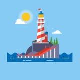 Le phare sur la roche lapide le fond de vecteur de bande dessinée d'île Illustration de vecteur Photographie stock