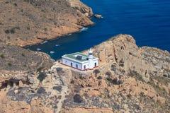Le phare sur le Punta de l'Albir Altea, Alicante, côte de l'Espagne Photos stock