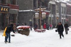 Le più grandi precipitazioni nevose durante 60 anni, Pechino, Cina. Fotografia Stock