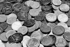 Le più piccole denominazioni 1 e 2 dei kopiykas ucraini delle monete, Fotografie Stock