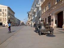 Le pianiste de la rue de Piotrkowska photographie stock