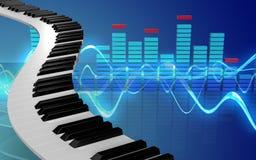 le piano 3d verrouille des clés de piano Photographie stock libre de droits