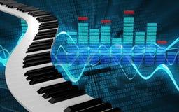 le piano 3d verrouille des clés de piano Images libres de droits