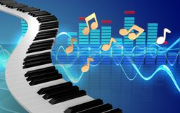 le piano 3d verrouille le spectre Illustration Stock