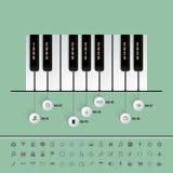 Le piano verrouille la chronologie avec l'ensemble d'icônes Photos libres de droits