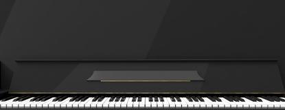 Le piano verrouille la vue de face, bannière illustration 3D Image libre de droits