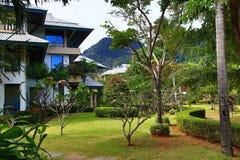 Le piante tropicali nei motivi della cabina dell'hotel ricorrono, baia di Tonsay, Phi Phi, Tailandia Immagini Stock