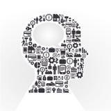 Le piccole icone che le finanze fanno nell'uomo pensano Fotografia Stock Libera da Diritti