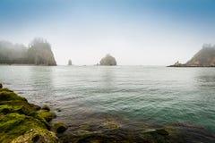 Le piccole isole nella nebbia fuori da Washington costeggiano fotografia stock libera da diritti